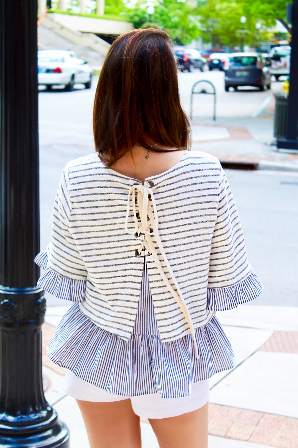 Girl Next Door Striped Blouse With Ruffled Hem