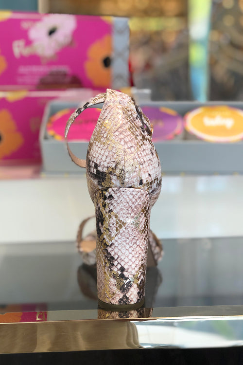 Gold Snakeskin Block Heeled Sandal - Shop Shoes Online At Kendry Collection Boutique