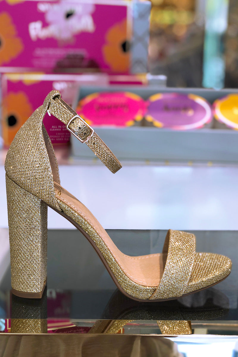 Gold Sparkly Block Heeled Sandals - Shop Kendry Collection Boutique