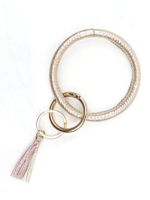 Trendy Gold Leather O-Ring Keychains With Tassel - Kendry Collection Boutique