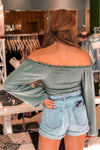 Green Long Sleeve Smocked Top - Shop Kendry Collection Boutique
