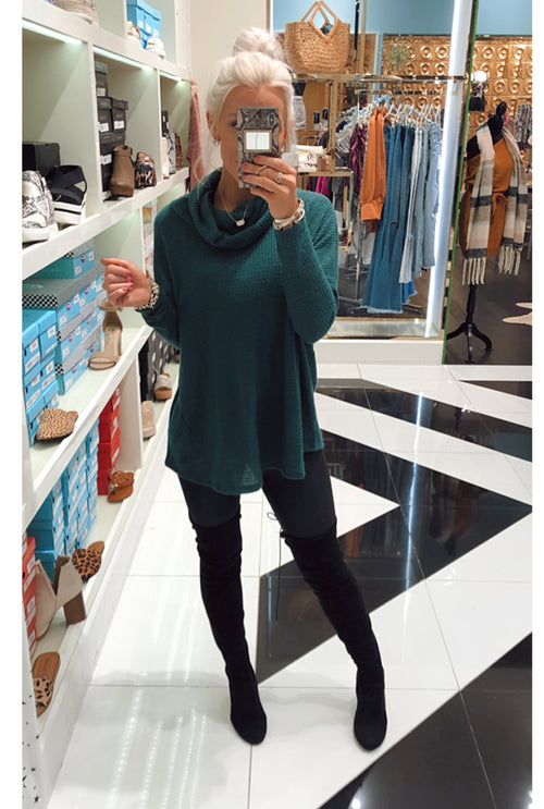 Green Thermal Cowl Neck Pullover- Shop Kendry Collection Boutique
