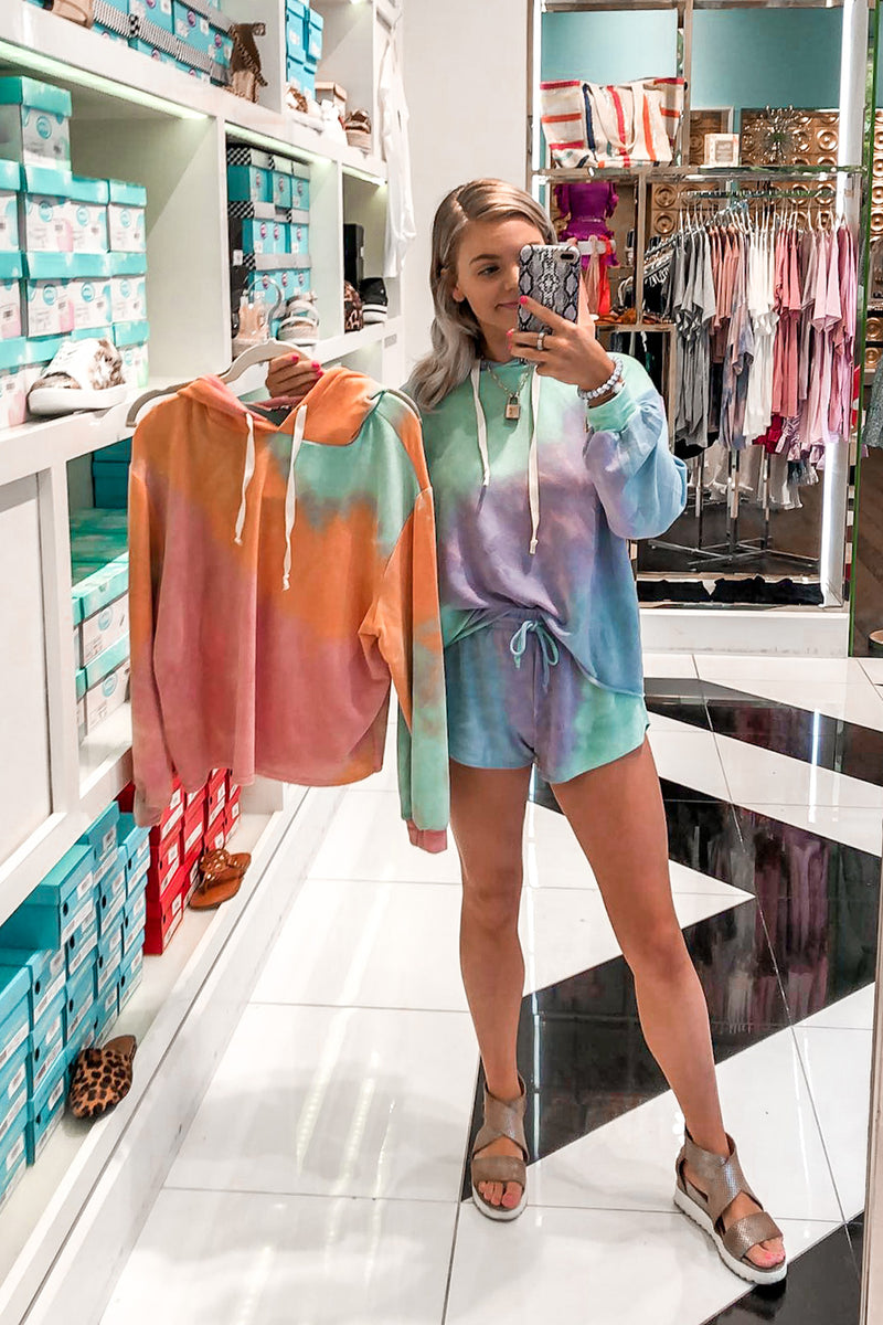 Green and Orange Tie Dye Short Set - Shop Cute Loungewear At Kendry Collection BoutiqueOnline