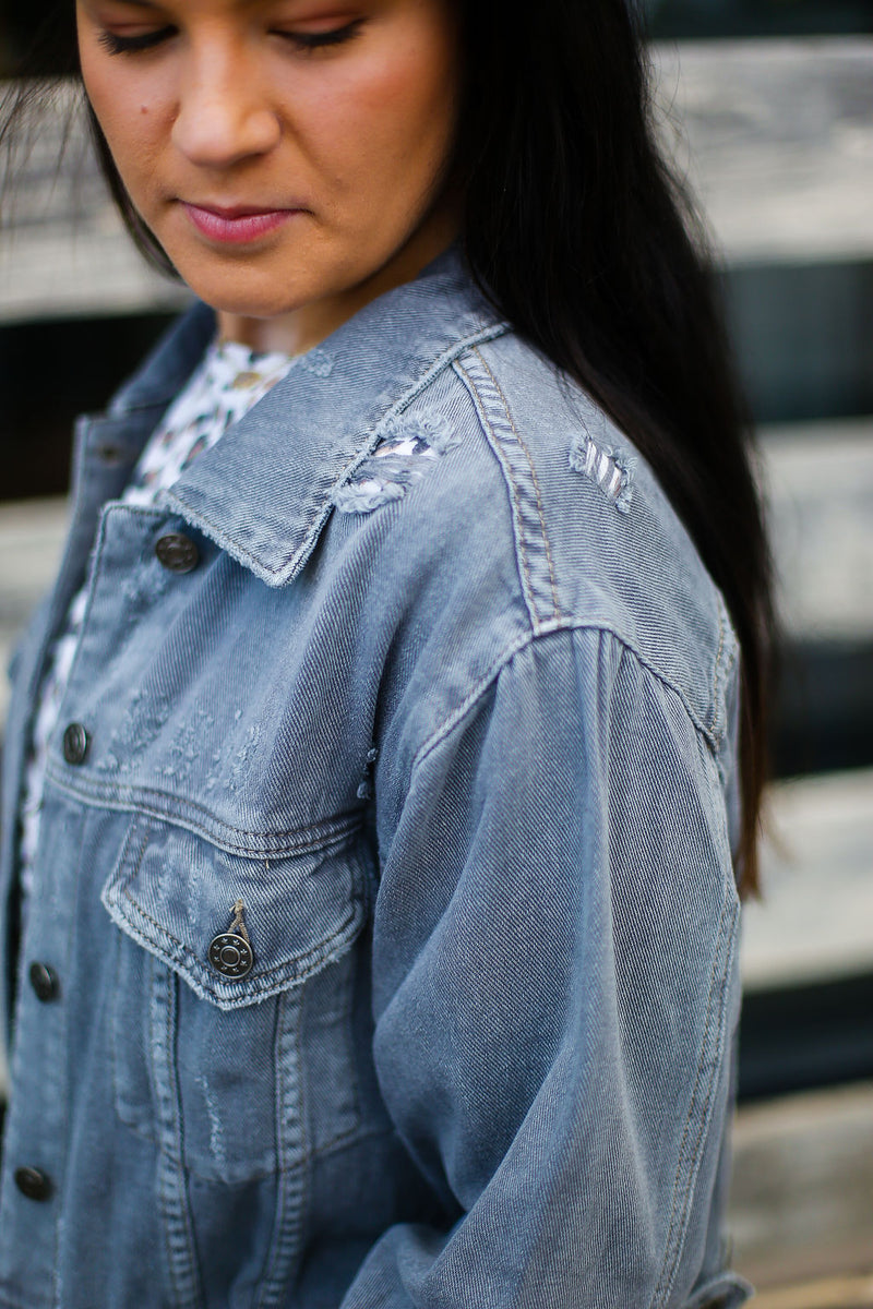 Grey Colored Distressed Denim Jacket - Shop Kendry Collection Boutique