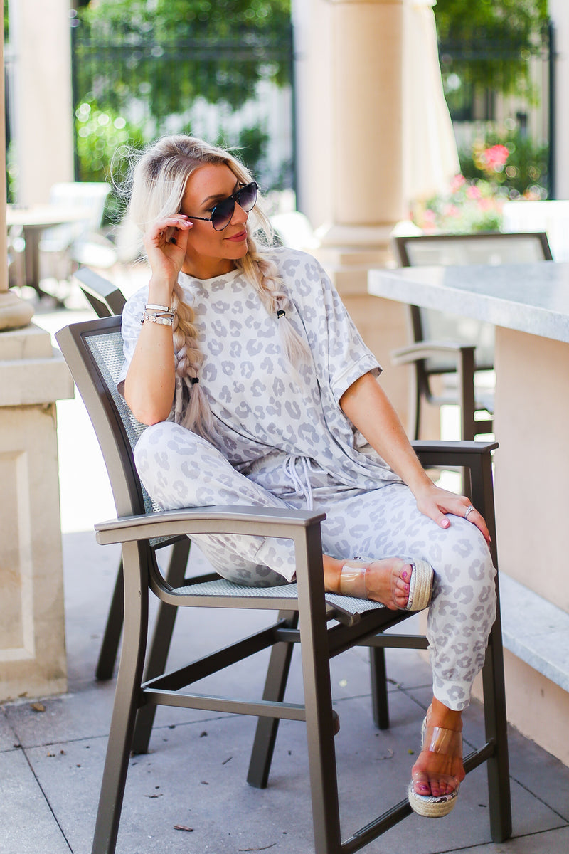 Grey Leopard Print Two Piece Jogger Set - Shop Kendry Collection Boutique