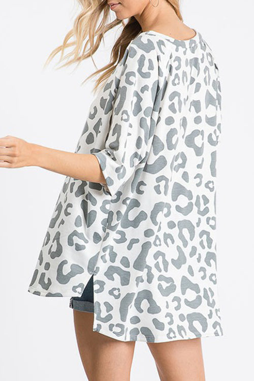 Grey Leopard Print Oversized Tee - Kendry Collection Boutique