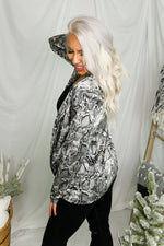 Grey Python Silky Day To Night Blazer -Shop Kendry Collection Boutique