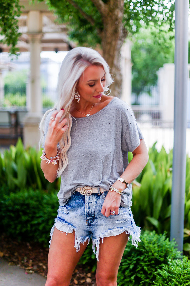 Grey Rhinestone Casual Tee - Kendry Collection Boutique
