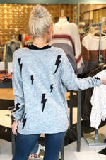 Grey Lightening Bolt Knit Sweater - Kendry Collection Boutique