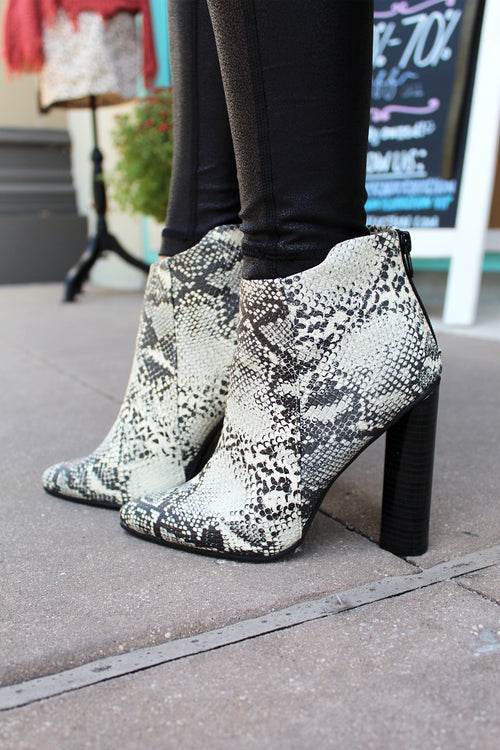 Hallie Snake Skin Heeled Booties