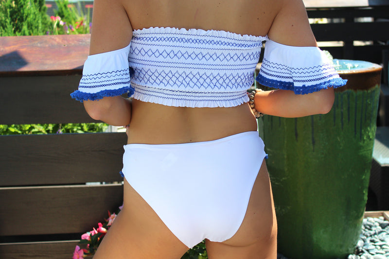 Hamptons Hottie Blue Smocked Bikini Bandeau Top - Fringe Tasseled Swimsuit, 4 of July Swimsuit, Cute Two Piece Bathing Suit - Kendry Collection Boutique