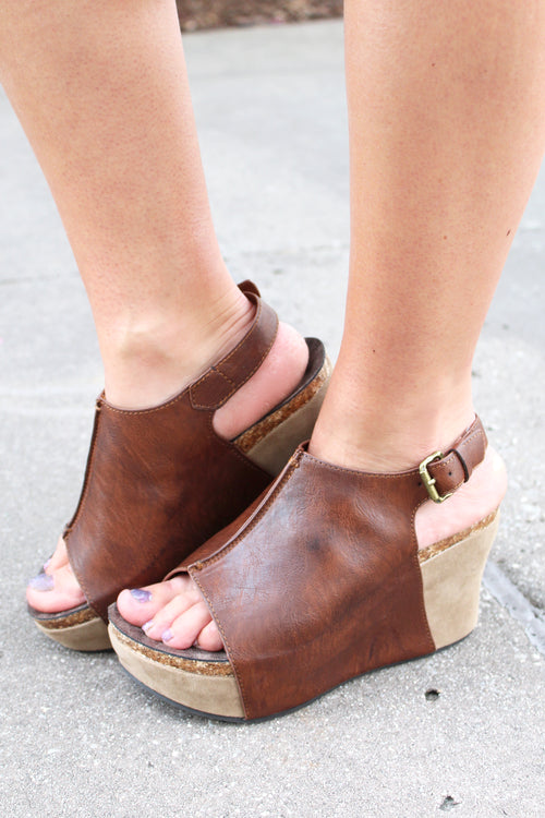 Hester Dark Brown Peep Toe Wedge - Kendry Collection Boutique