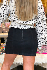 High Waisted Black Denim Mini Skirt - Kendry Collection Boutique