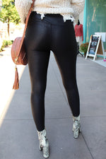 High Waisted Black Foil Faux Leather Leggings - Kendry Collection Boutique