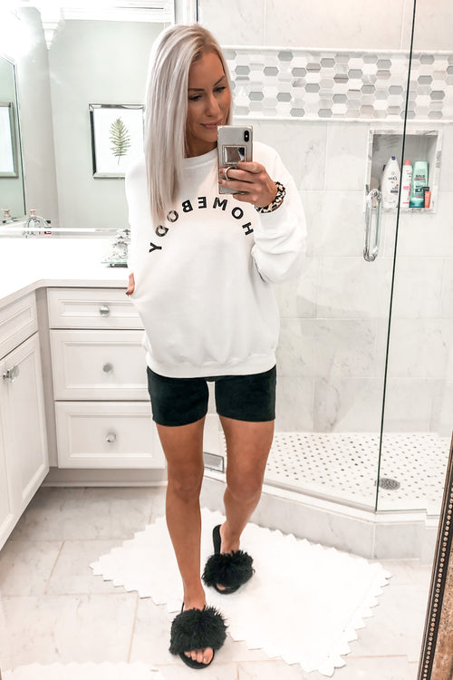 Homebody White Pullover Sweatshirt - Kendry Collection Boutique