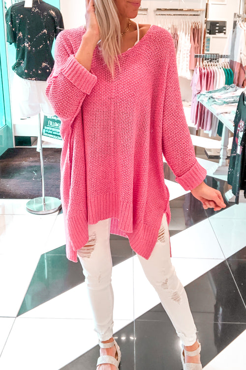 Knitted Sweater With Folded Cuffs - Candy Pink