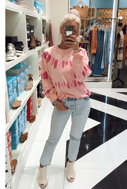 Hot Pink Tie Dye Sweatshirt-Shop Kendry Collection Boutique online