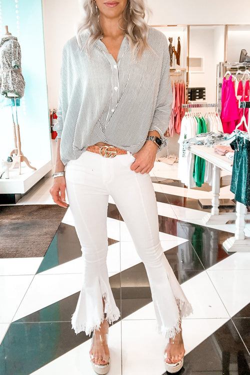 Denim Flare Jeans With Fringe Hem - White - Kendry Collection Boutique