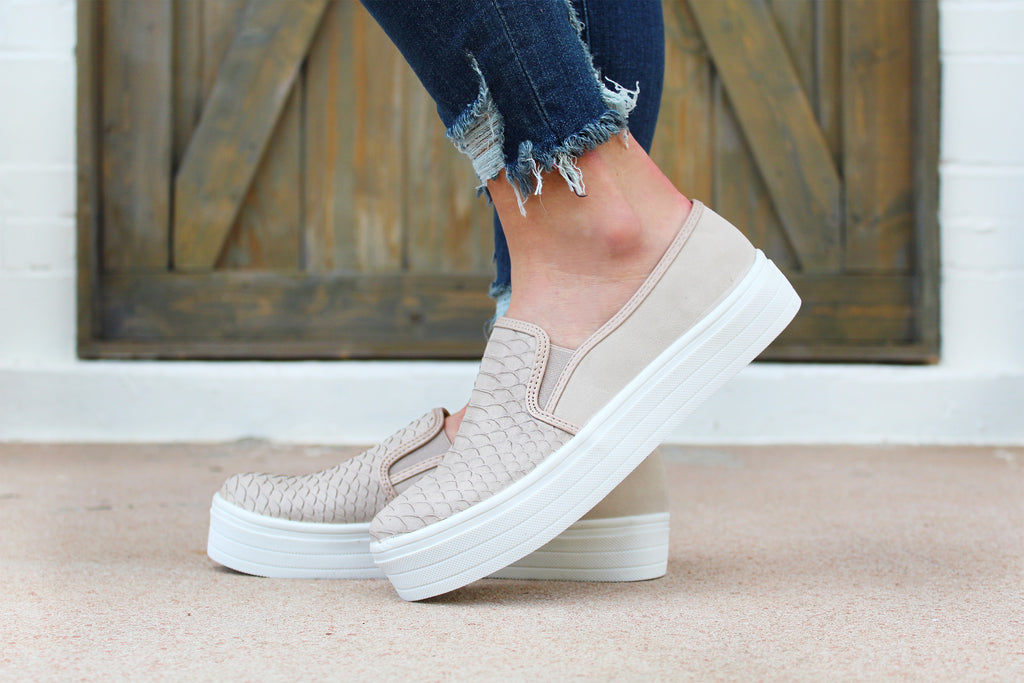 Larsa Embossed Taupe Sneakers