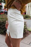 White Faux Leather Front Slit Mini Skirt, Game Day Skirt - Kendry Collection Boutique