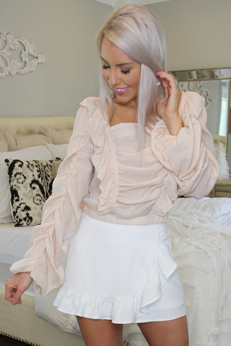 Peach Ruffle Long Sleeve Ruched Blouse