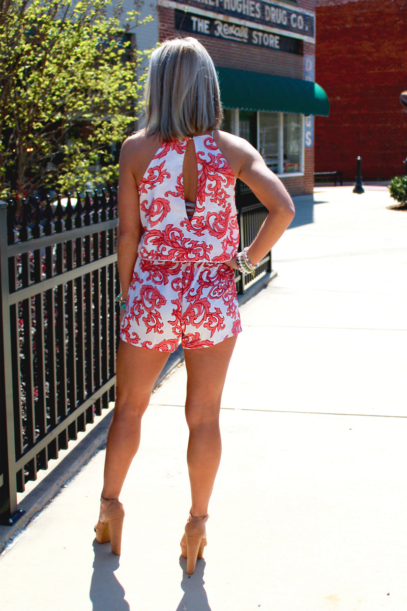 Summer Lovin' Halter Neck Romper - Coral - Romper With Pockets, Halter Neck Romper, Coral and White Romper, Summer Romper Outfit - Shop Cute Romper For Women At Kendry Collection Boutique