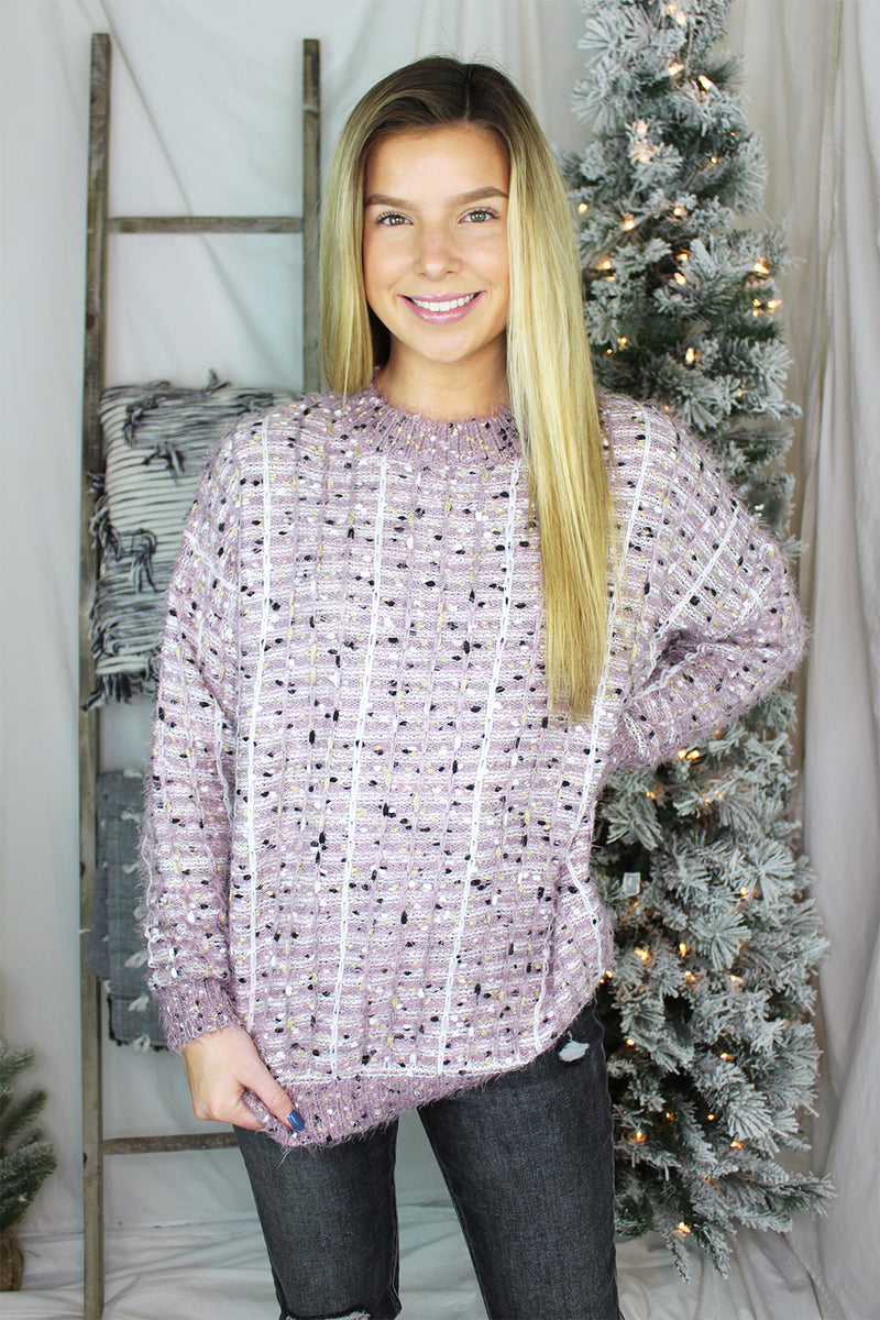 Fuzzy Purple Shimmer Sweater