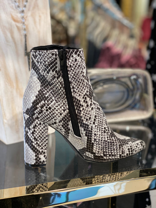 Bell Snakeskin Pointy Toe Booties