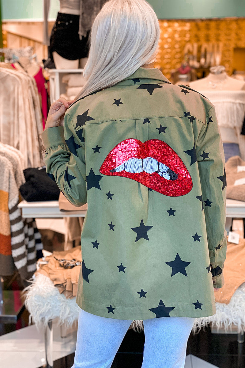 Green Star Pattern Jacket With Red Lips