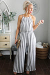 Island Escape Black and White Striped Halter Jumpsuit