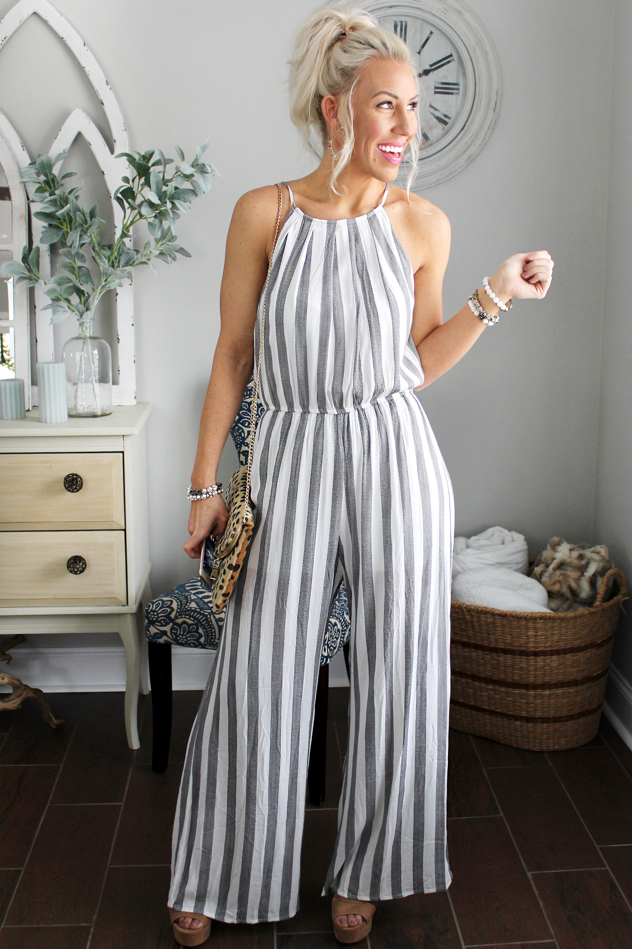 b49ba82237ed72 Cute Striped Halter Jumpsuit - Black and White Jumpsuit - Kendry ...