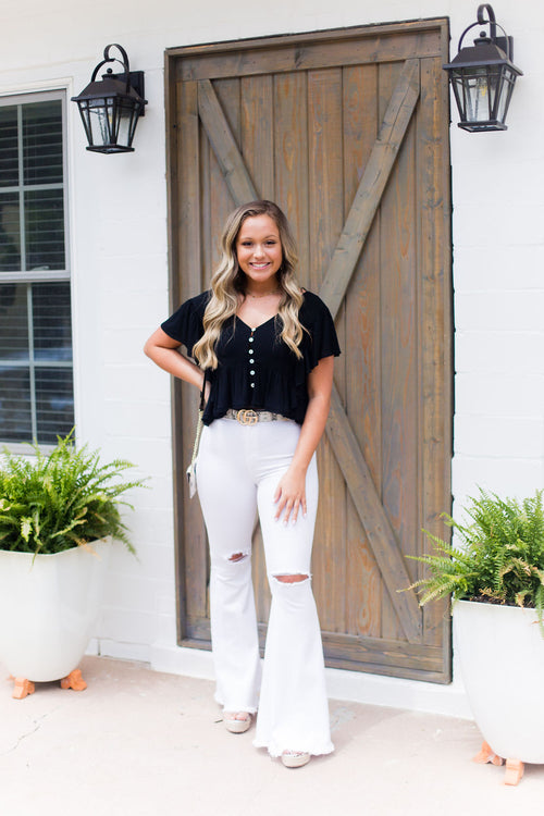 Jennifer High Waisted Distressed White Bell Bottoms
