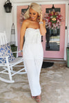 Keep You Close Strapless White Jumpsuit, White Bridal Jumpsuit, Dressy White Jumpsuit - Kendry Collection Boutique
