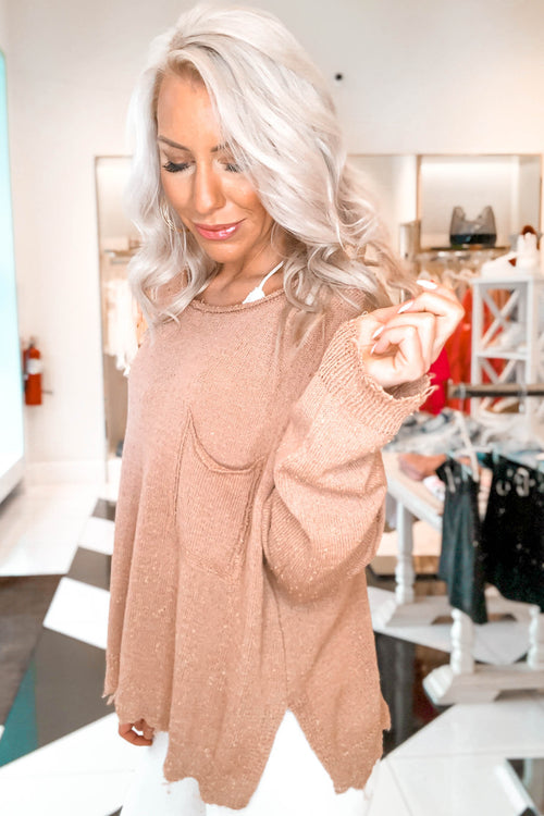 Distressed Knit Sweater - Mauve - Kendry Collection Boutique