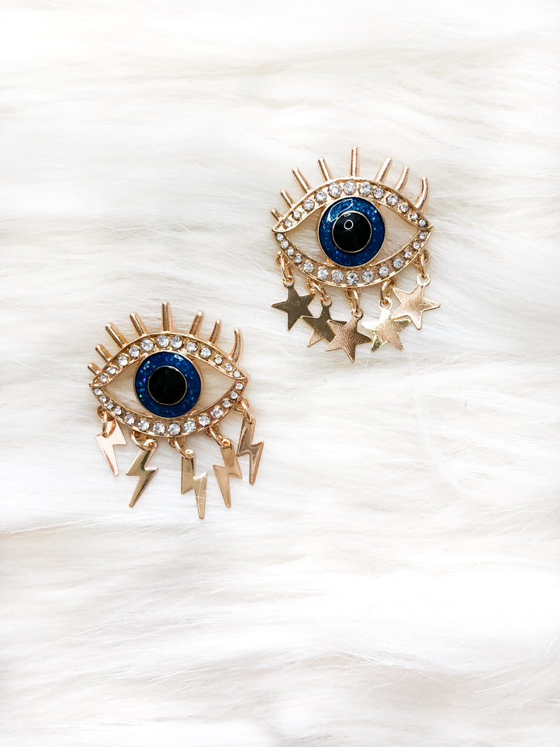 Lightning Bolt and Star Eye Earrings - Kendry Collection Boutique