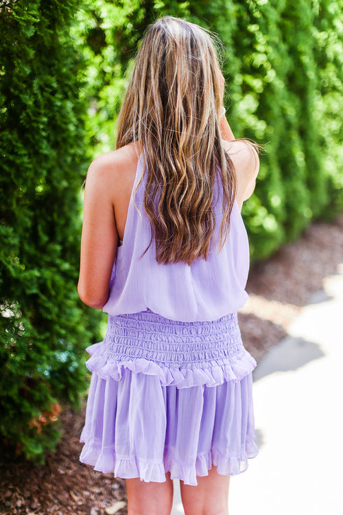 Lavender Smocked Waist Ruffle Mini Dress - Rush Dresses - Kendry Collection Boutique