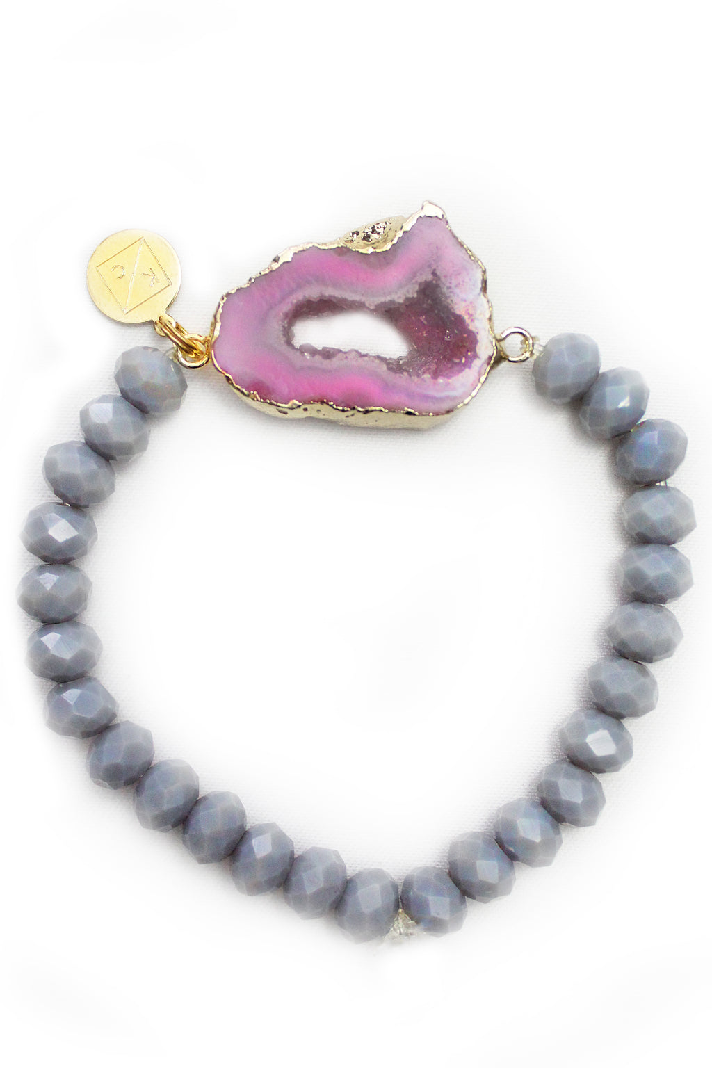 Layla Pink Druzy Stone Beaded Stretch Bracelet - Shop Kendry Collection Boutique Handmade Jewelry