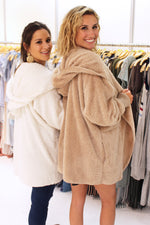 Lazy Sunday Sherpa Hoodie Coat, Tan And White Faux Fur Jacket, Casual Cute Winter Coat - Kendry Collection Boutique