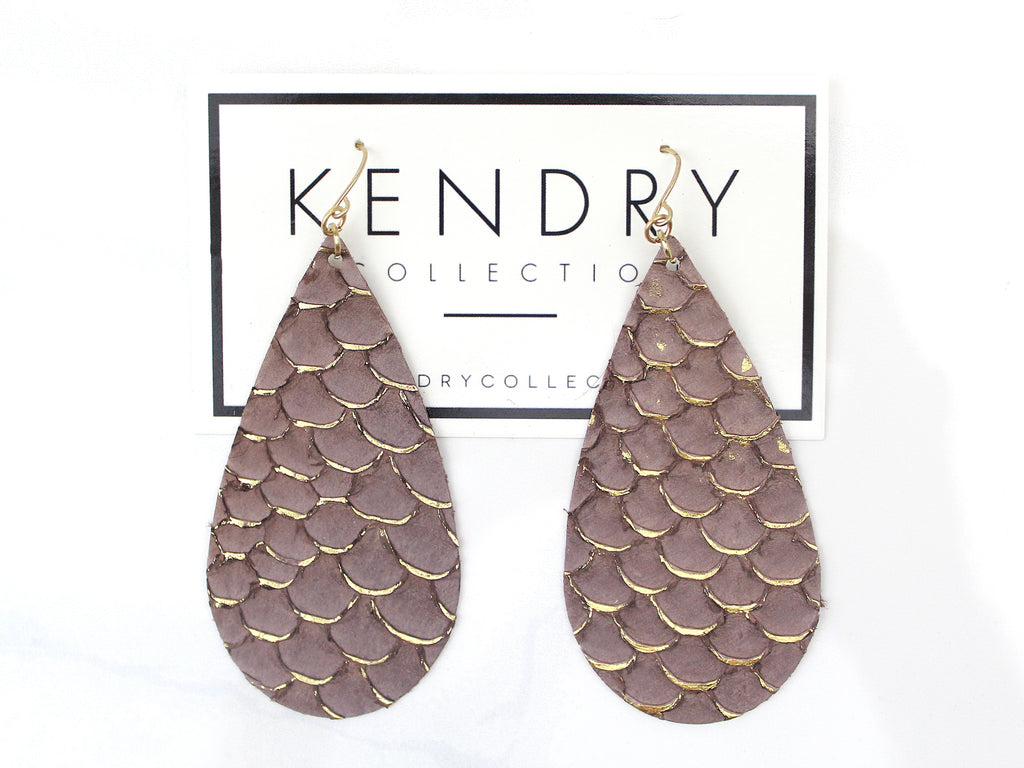 Leather Tear Drop Earrings - Purple and Gold - Kendry Collection