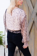 Leopard Sheer Sleeve Top - Shop Kendry Collection Boutique