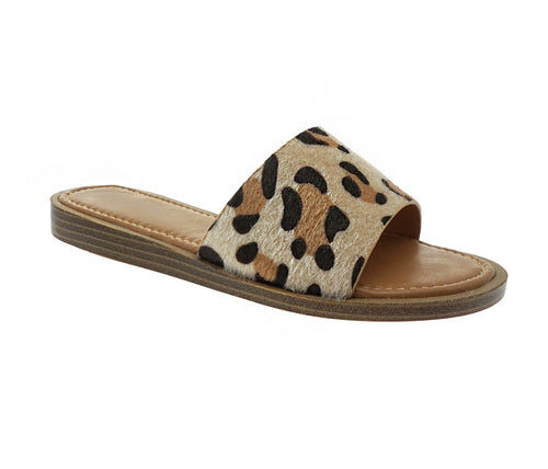 Lizzie Leopard Faux Fur Slip On Sandals