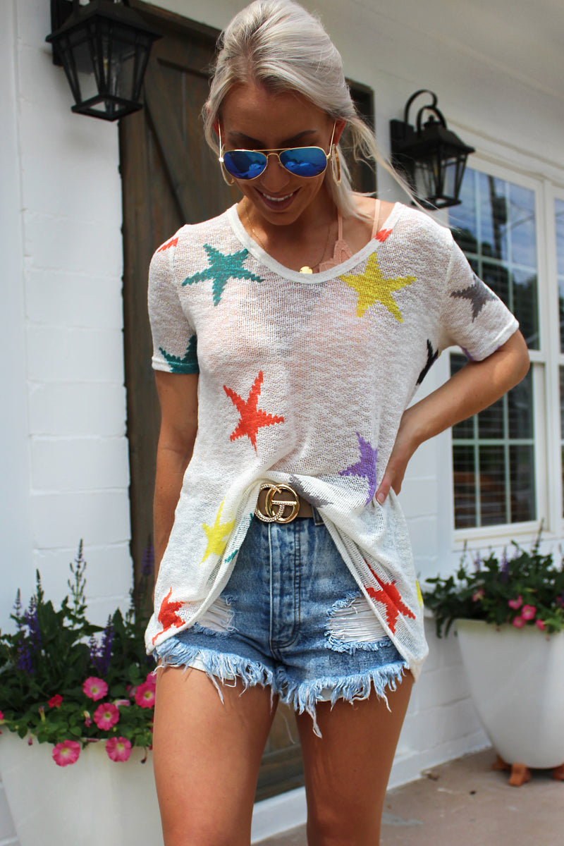 Let's Get Lost Multi Color Star Knit Tee - Kendry Collection Boutique
