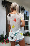 Let's Get Lost Multi Color Star Knit Tee, Star Pattern T-shirt Top - Kendry Collection Boutique