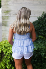 Light Blue Silver Star Pattern Tank Top - Kendry Collection Boutique