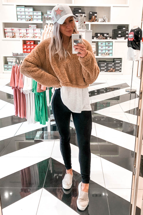 Teddy Bear Sherpa Cropped Pullover - Kendry Collection Boutique