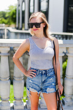 Light Grey Acid Wash Ribbed Cropped Tank - Shop  Kendry Collection Boutique Online