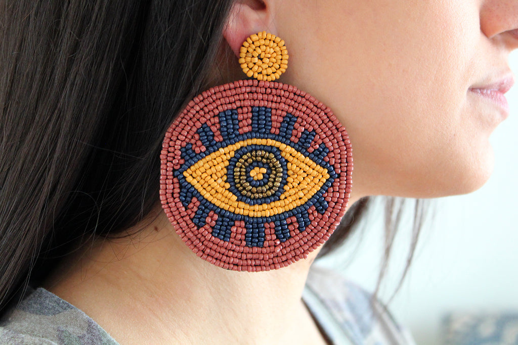 Evil Eye Seed Bead Round Statement Earrings - Light Brown/Mustard