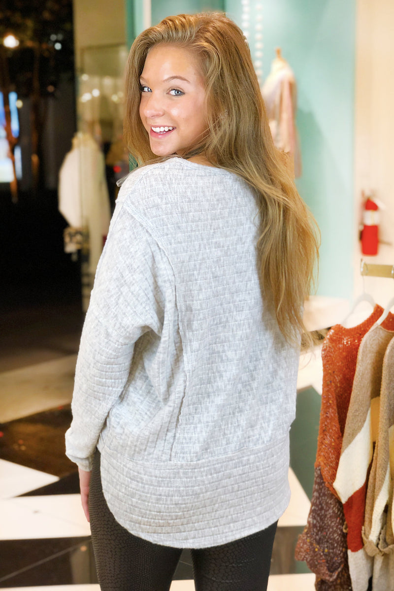 Light Gray Long Sleeve Ribbed Knit Top - Kendry Collection Boutique