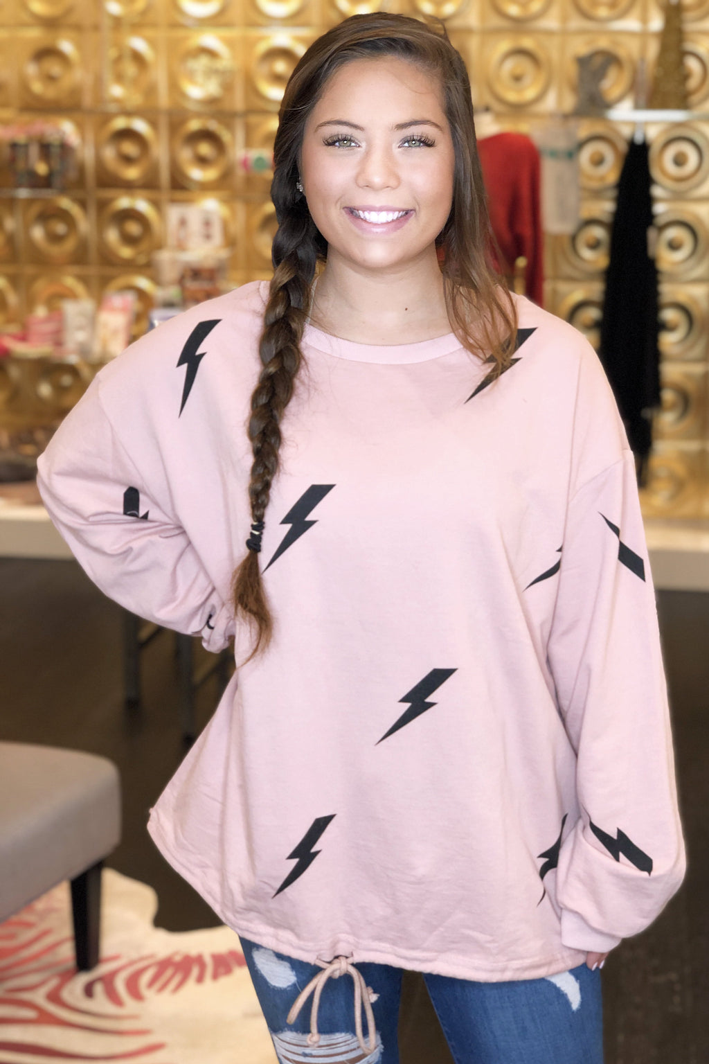 Lightning Bolt Drawstring Pullover - Blush Pink - Kendry Collection Boutique