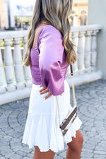 Long Sleeve Lavender Square Neck Ruched Blouse